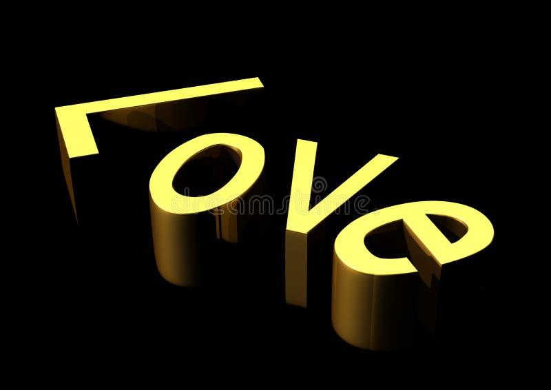 Oro del testo di amore fotografie stock libere da diritti