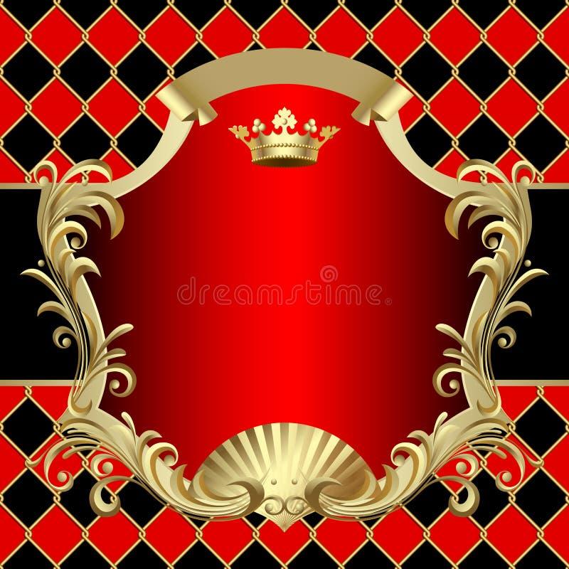Oro del vintage y bandera roja con una corona encendido en rho rojo y negro ilustración del vector
