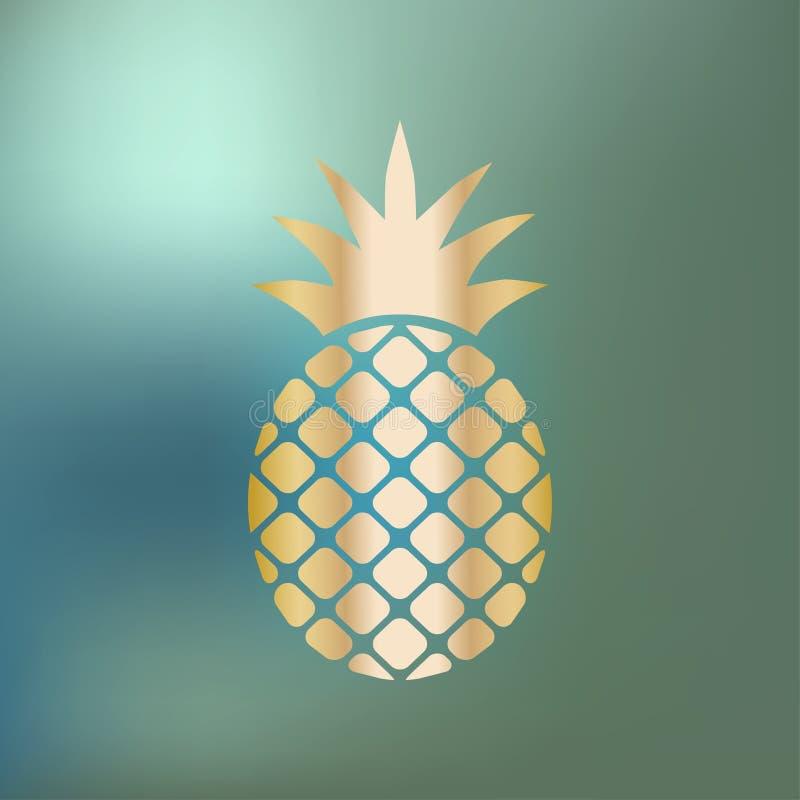 Oro dell'icona dell'ananas dell'ananas su un fondo blu del bokeh illustrazione di stock