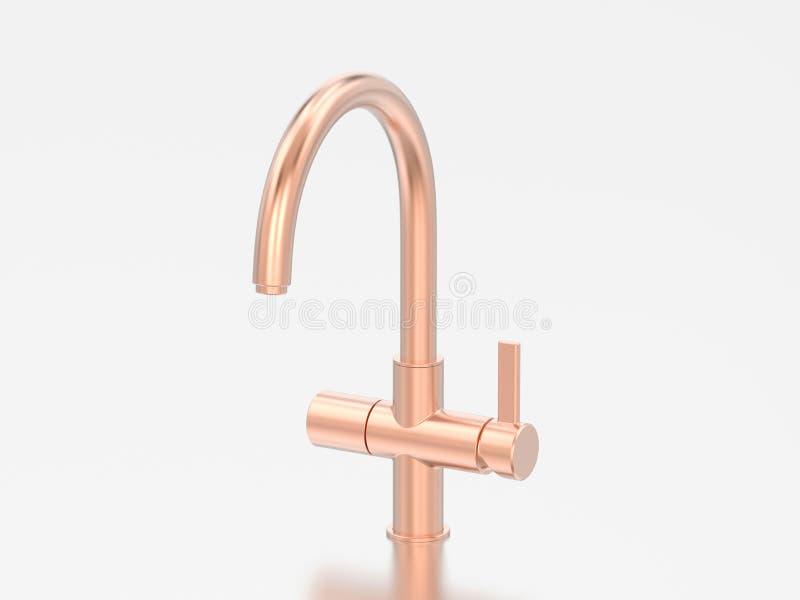 oro dell'illustrazione 3D o rubinetto rosa del cromo del rame illustrazione vettoriale