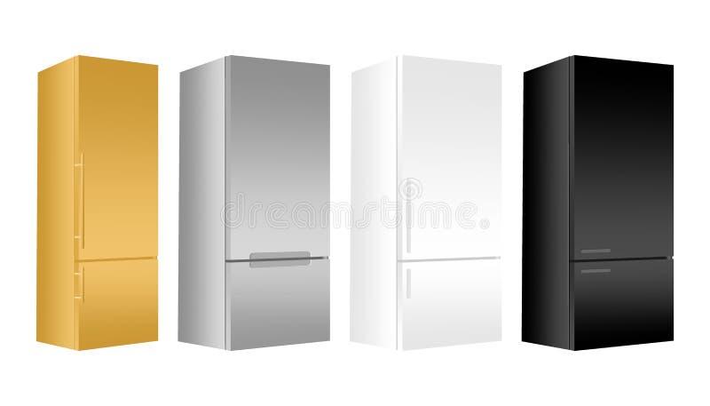 Oro determinado, refrigerador de plata, blanco, negro con el congelador en el fondo blanco Refrigerador moderno 3d con la puerta  stock de ilustración