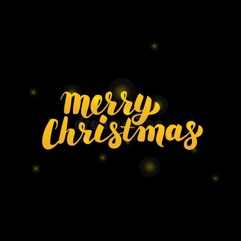 Oro di Buon Natale che segna sopra il nero illustrazione vettoriale