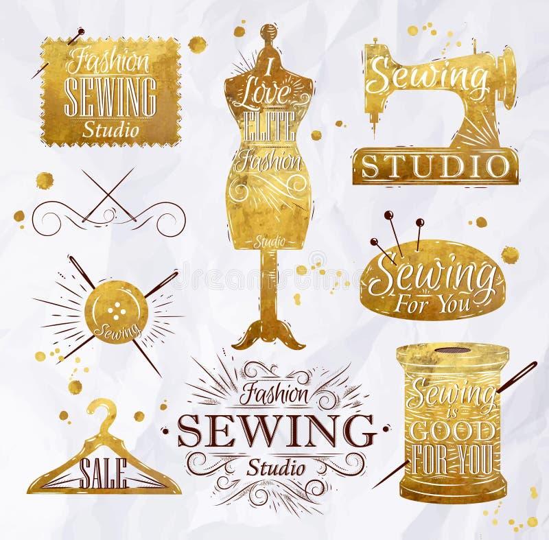 Oro di cucito di simbolo illustrazione di stock