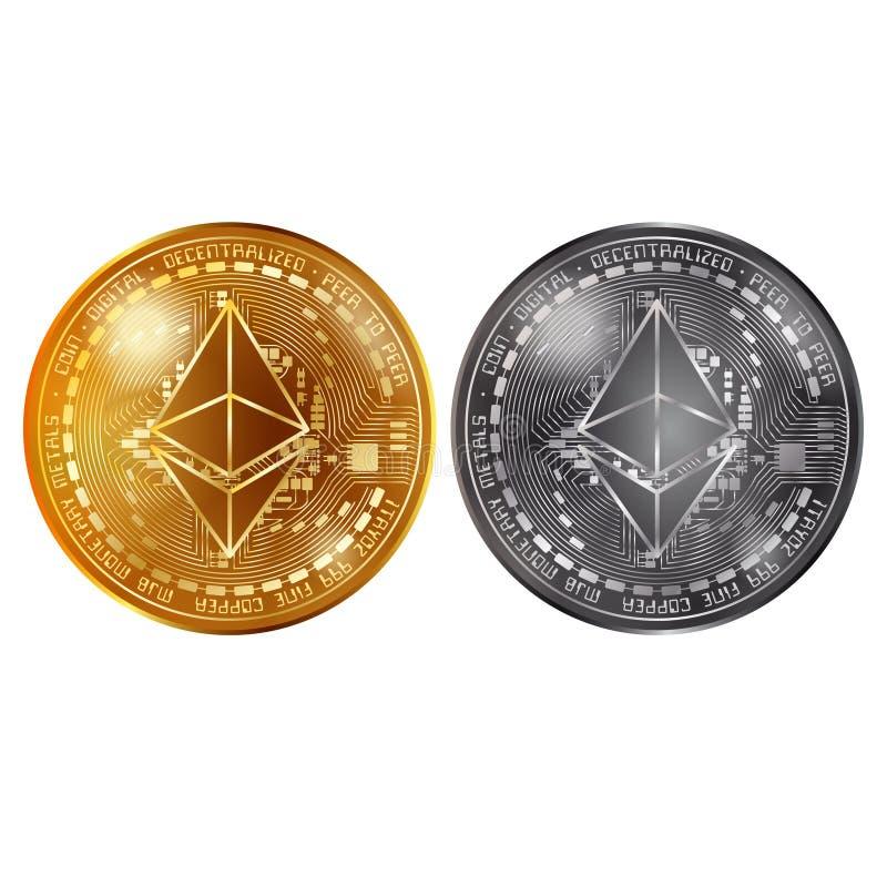 Oro di Ethereum e monete d'argento illustrazione vettoriale