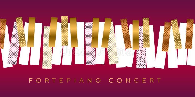 Oro di lusso ed invito rosso per il concerto di musica illustrazione vettoriale