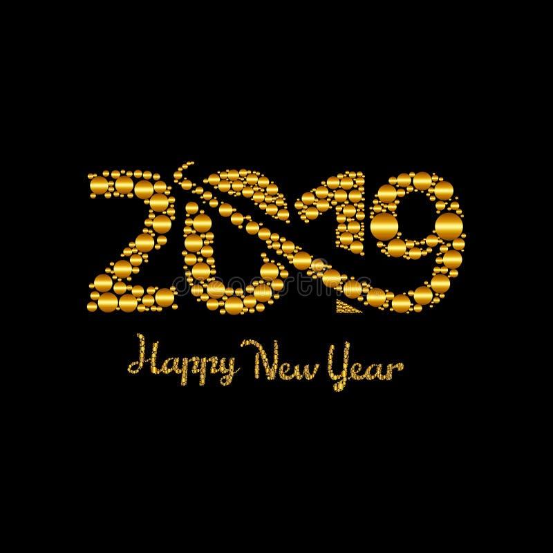 Oro di progettazione del testo del buon anno 2019, illustrazione di vettore illustrazione di stock