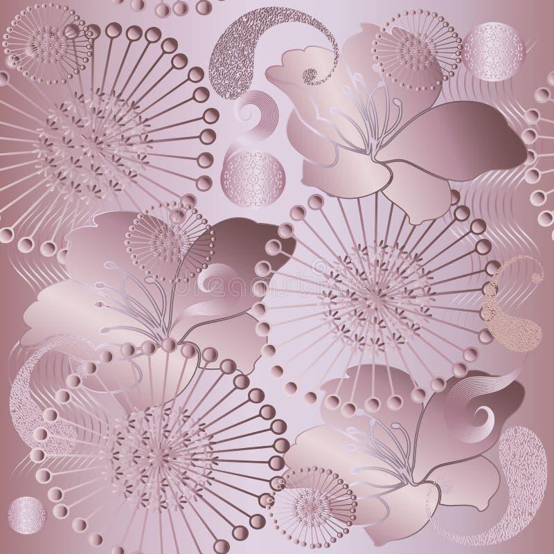 Oro di Rosa Modello senza cuciture luccicante floreale di 3d Paisley Struttura di superficie di seta brillante delicata Vector la royalty illustrazione gratis