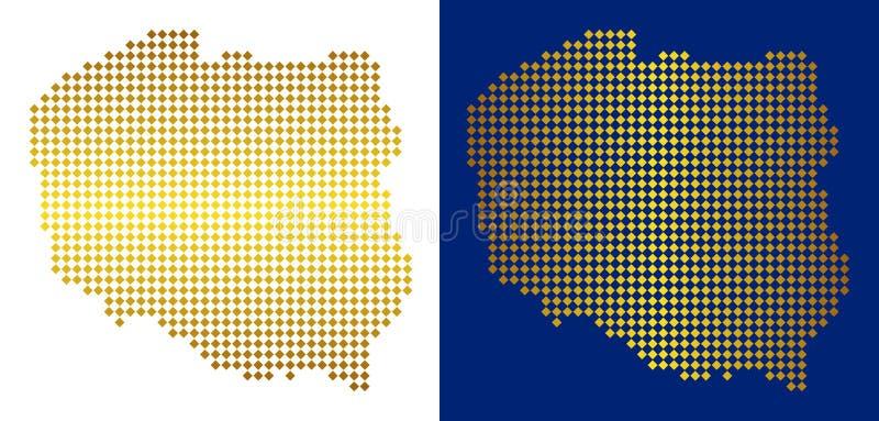 Oro Dot Poland Map royalty illustrazione gratis