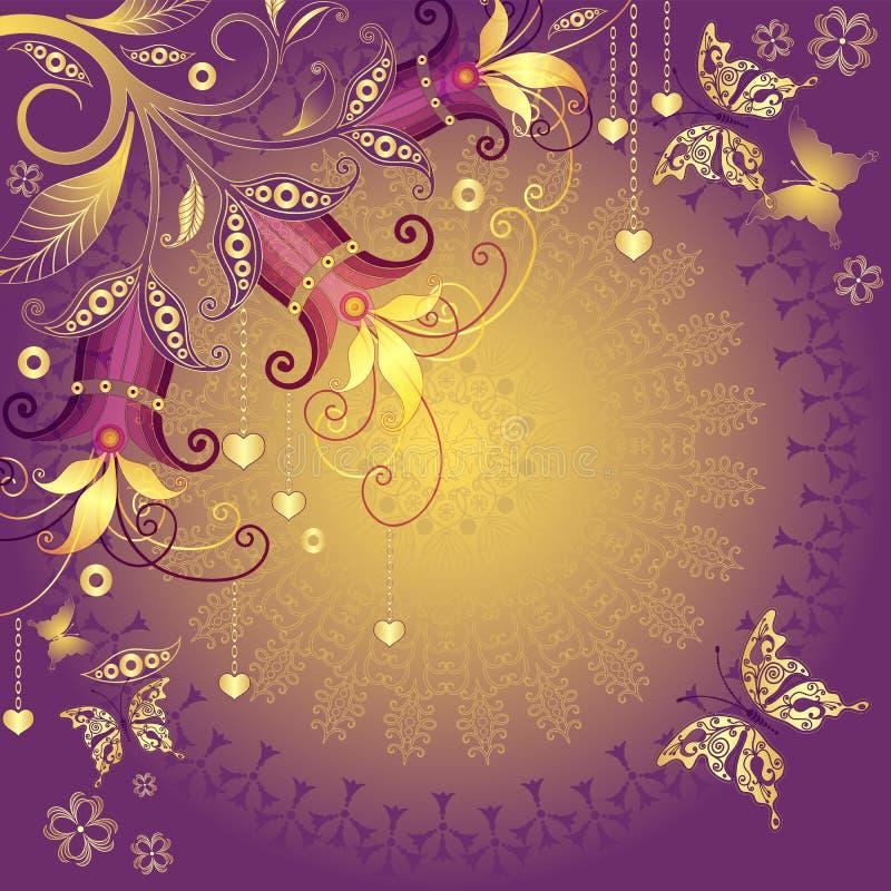 Oro e blocco per grafici viola del biglietto di S. Valentino illustrazione di stock