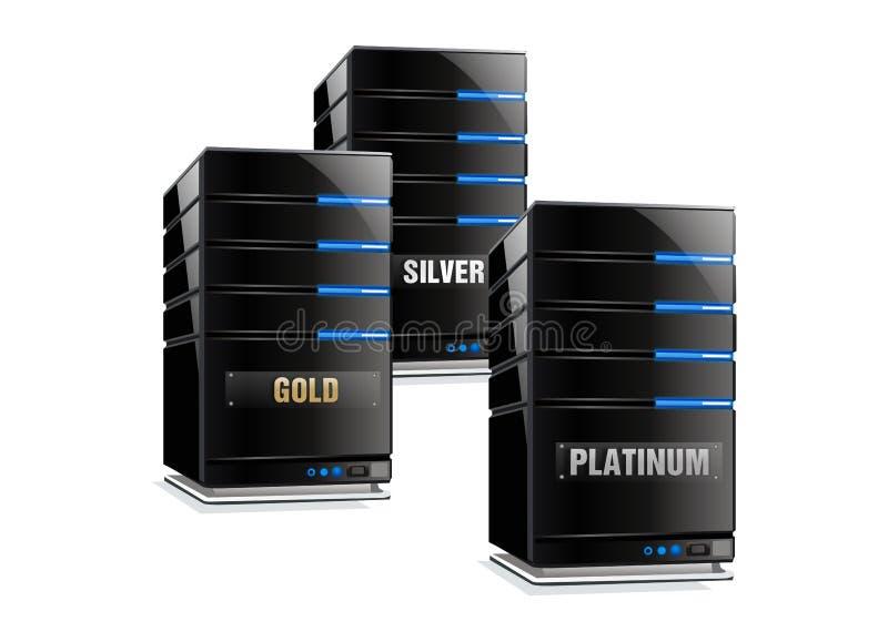 Oro e calcolatore centrale d'argento del platino illustrazione vettoriale
