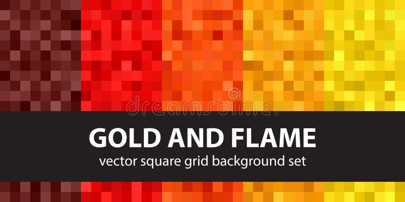 Oro e fiamma stabiliti del modello del pixel Parte posteriore senza cuciture di arte del pixel di vettore royalty illustrazione gratis
