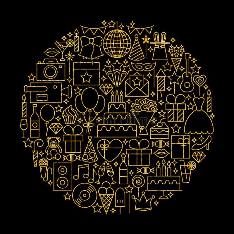Oro e linea nera icone di compleanno illustrazione di stock