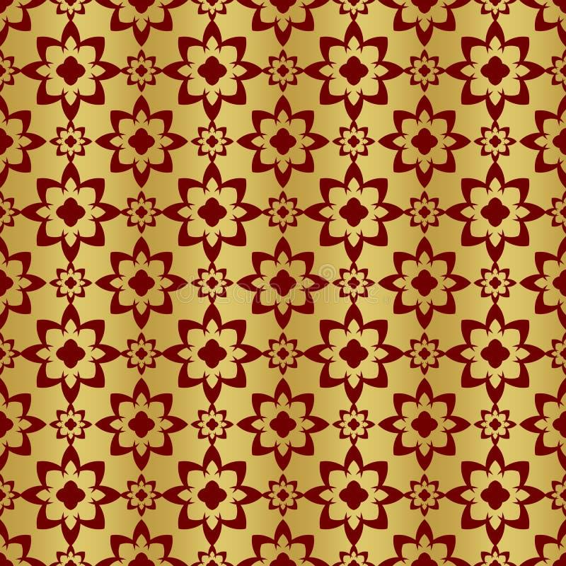 Oro e modello senza cuciture regolare metallico rosso fotografie stock
