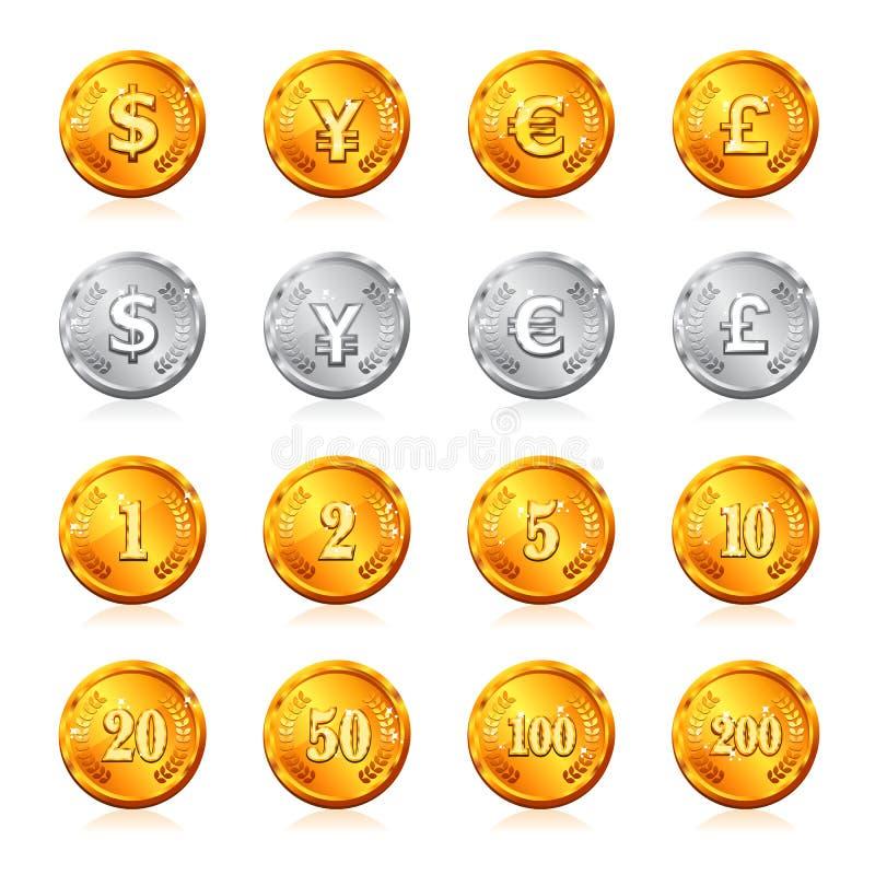 Oro e moneta d'argento con valuta ed il prezzo illustrazione di stock