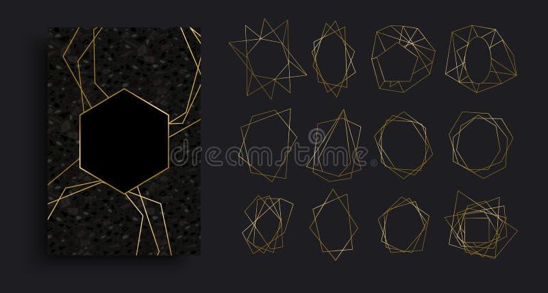 Oro e raccolta di lusso nera del fondo della carta illustrazione di stock