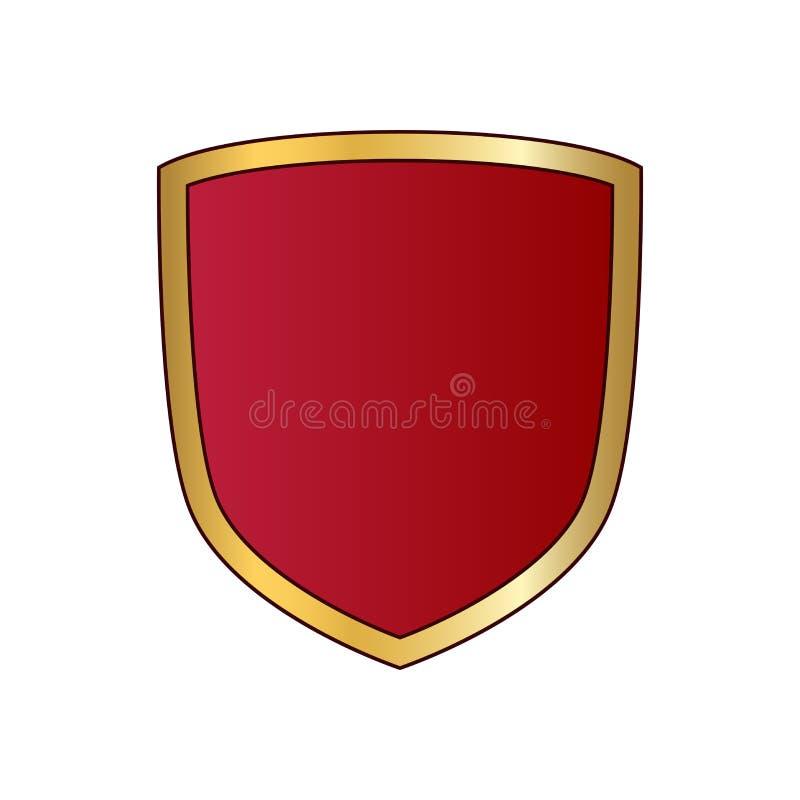 Oro ed icona rossa di forma dello schermo Segno metallico dell'emblema di logo isolato su fondo bianco Simbolo dello schermo di f illustrazione vettoriale
