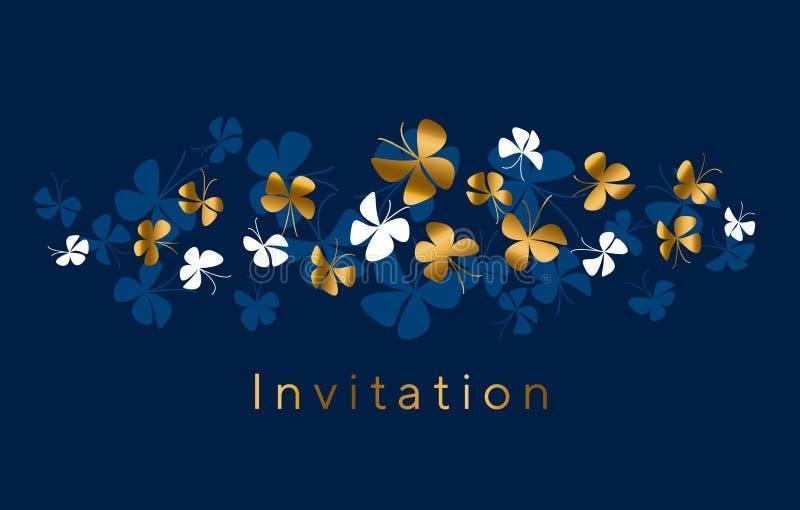 Oro elegante e composizione blu nella farfalla per la carta, invito illustrazione di stock
