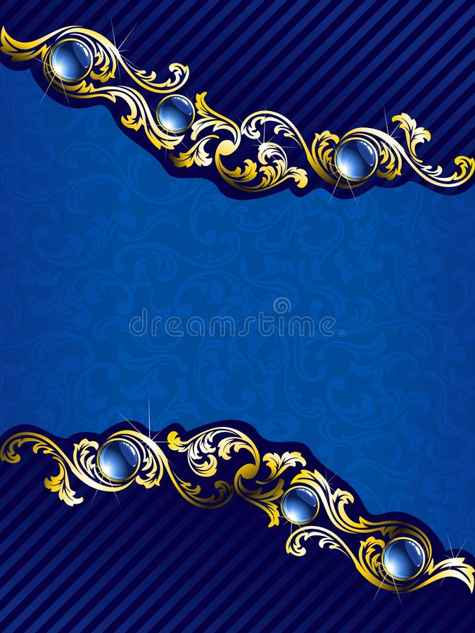 Oro elegante y fondo azul con las gemas stock de ilustración