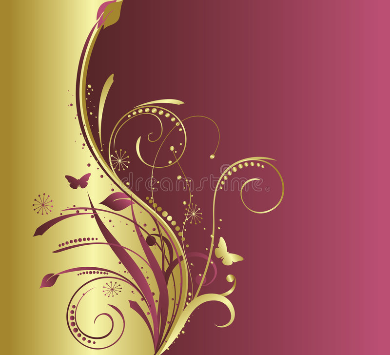 Oro floral y fondo rojo stock de ilustración