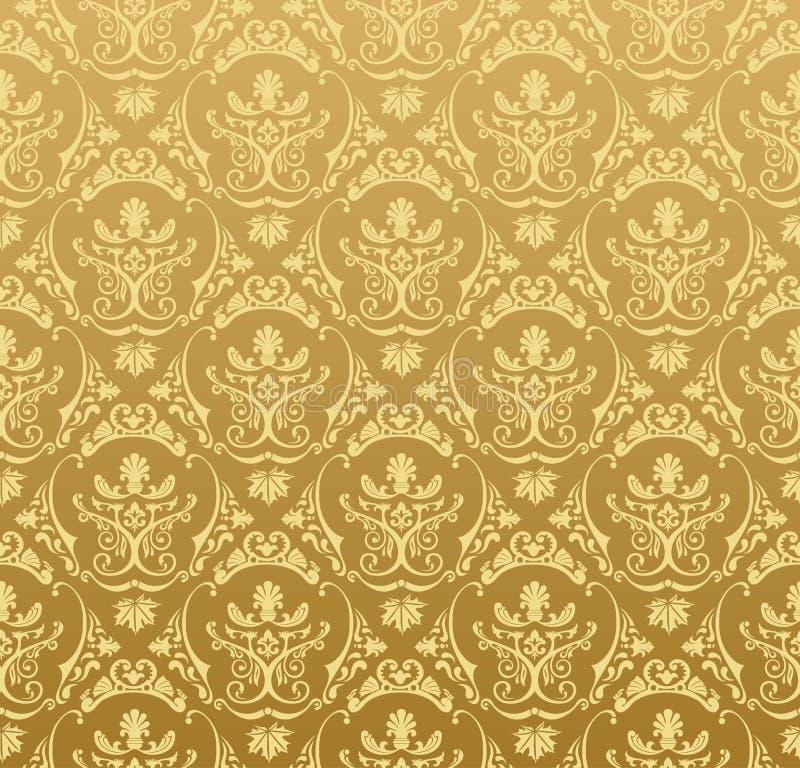 Oro floreale dell'annata della priorità bassa senza giunte della carta da parati illustrazione vettoriale