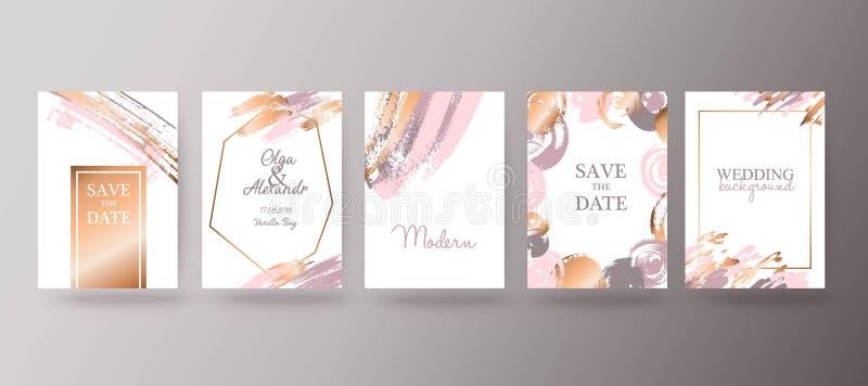 Oro, folleto rosado, aviador, invitación, tarjeta stock de ilustración