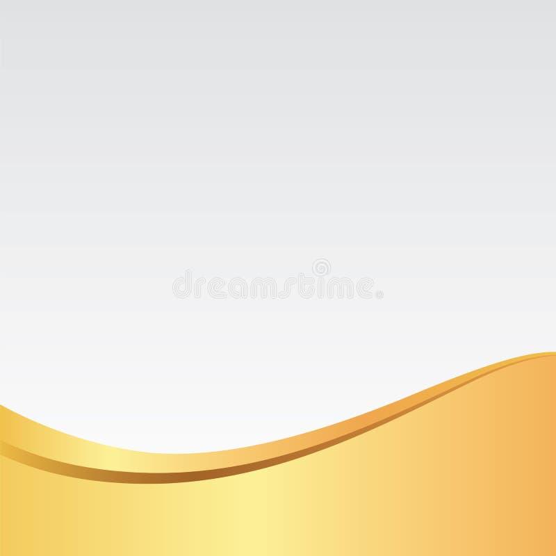 Oro/fondo de plata elegante/modelo de la onda de oro para la tarjeta, el cartel, el sitio web o la invitación ilustración del vector