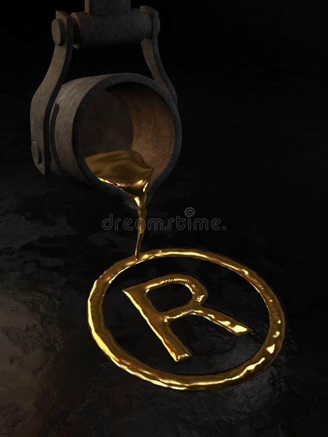 Oro fundido - símbolo de la marca registrada ilustración del vector