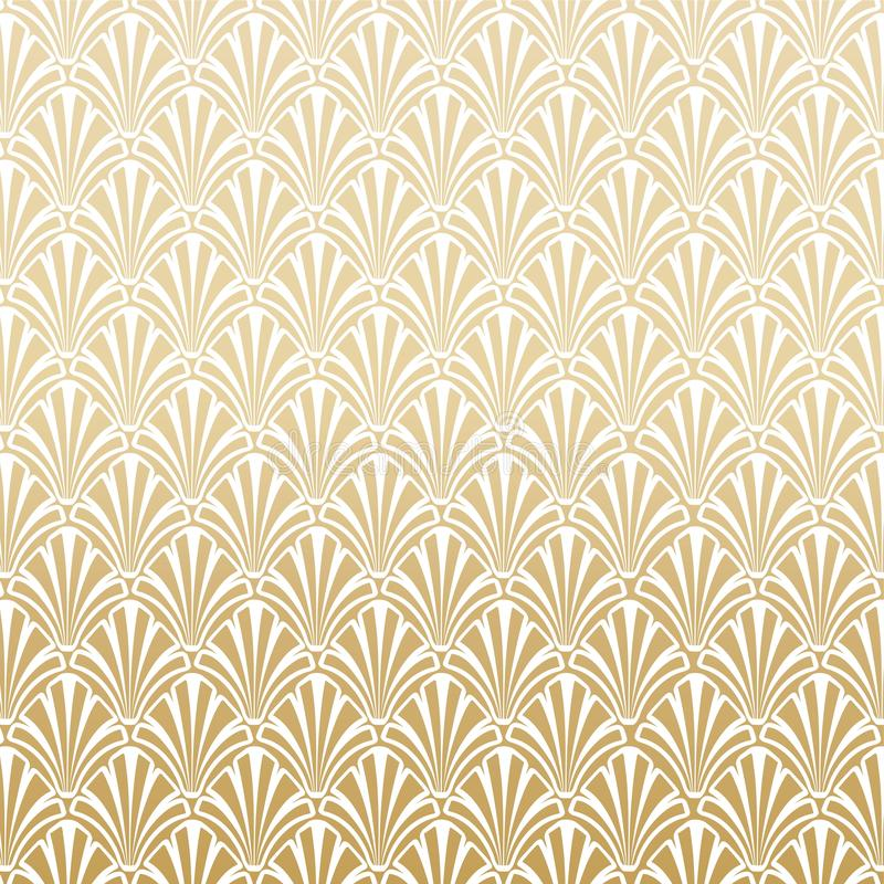 Oro Gatsby Art Deco Pattern Background Design stock de ilustración