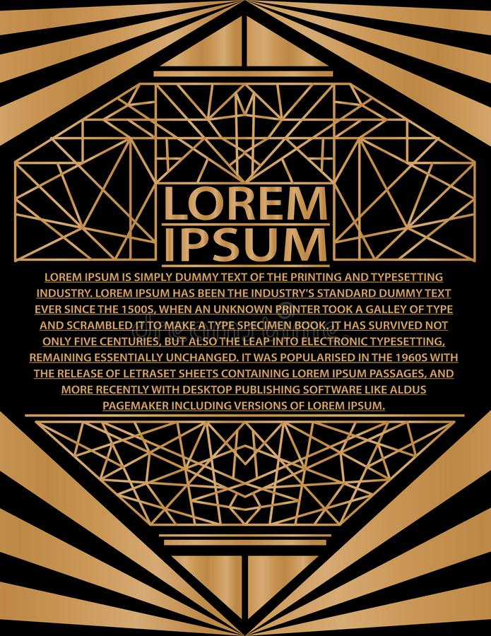 Oro gatsby de la invitación del art déco de la tarjeta del cartel del folleto de la presentación del extracto de la plantilla  ilustración del vector