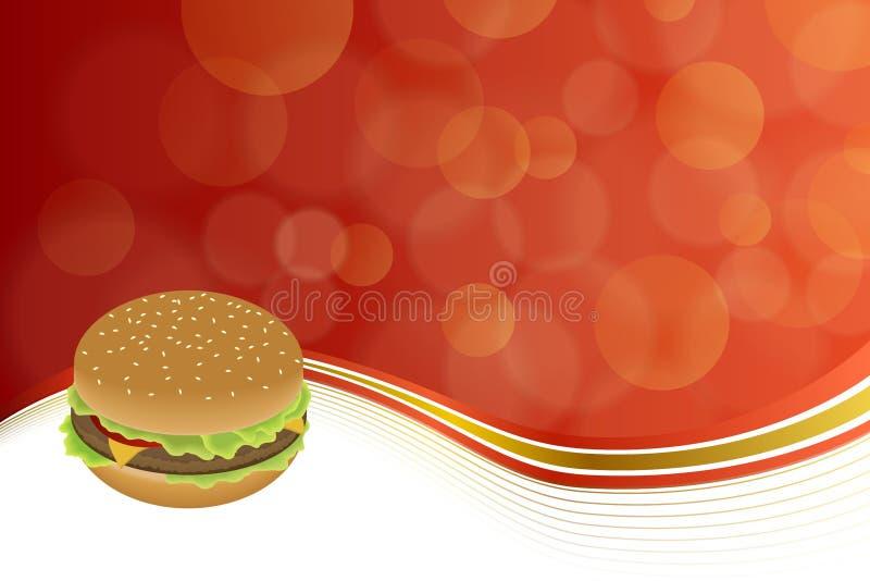 Oro giallo rosso del fondo dell'hamburger astratto dell'alimento illustrazione vettoriale