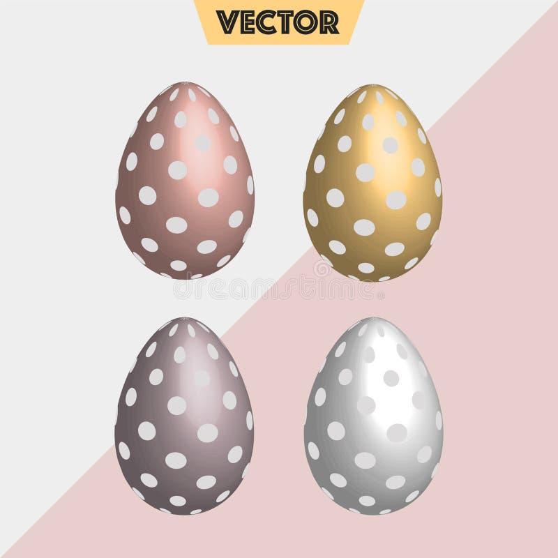 Oro, huevos de Pascua punteados de plata del vector 3D imagenes de archivo