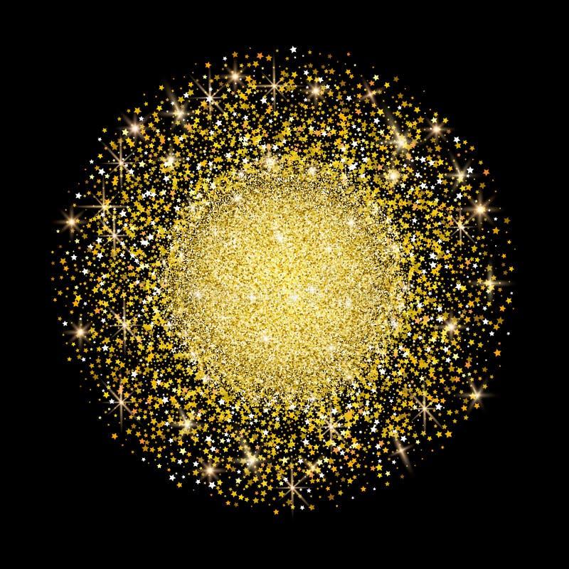 Oro intorno a forma delle stelle e dello scintillio Stelle cadenti e scintillio su fondo scuro Stars i coriandoli Per il Natale,  illustrazione vettoriale