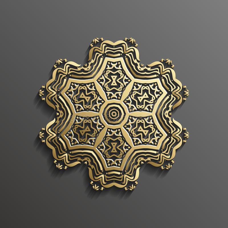 Oro islamico 3d su progettazione musulmana architettonica di struttura della mandala del fondo rotondo scuro dell'ornamento può e royalty illustrazione gratis
