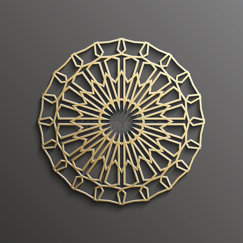 Oro islamico 3d su progettazione musulmana architettonica di struttura della mandala del fondo rotondo scuro dell'ornamento può e illustrazione vettoriale