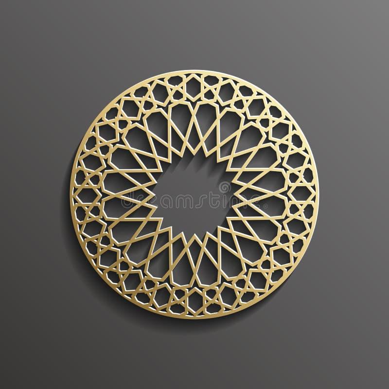 Oro islamico 3d su progettazione musulmana architettonica di struttura della mandala del fondo rotondo scuro dell'ornamento può e illustrazione di stock