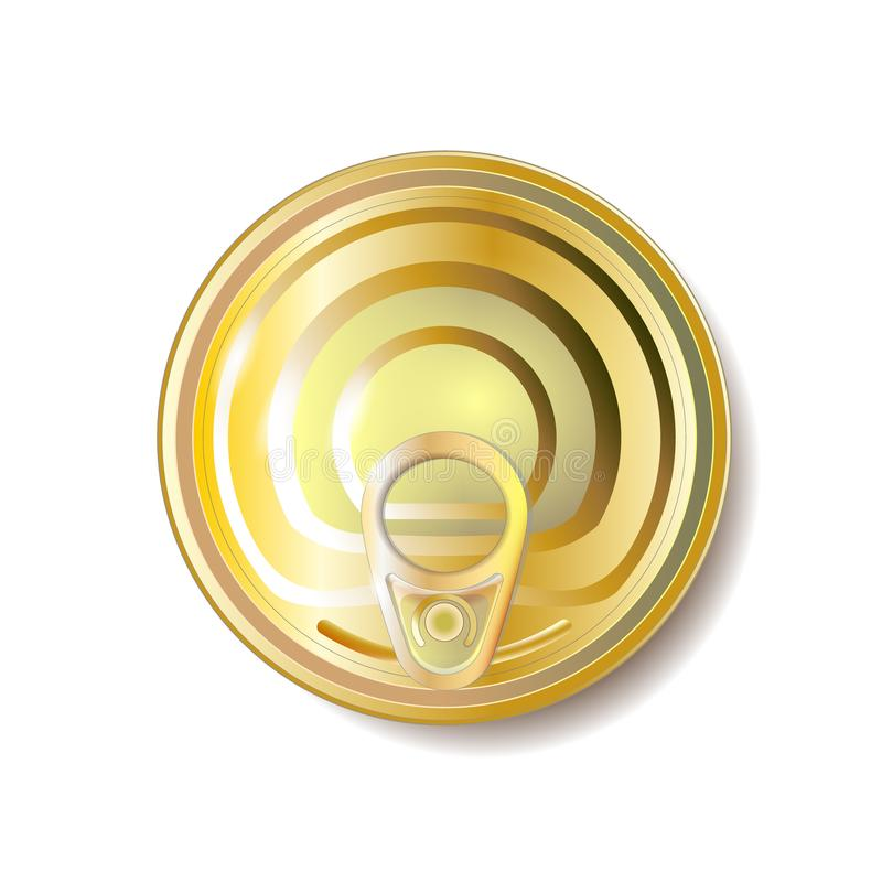 Oro, lata amarilla con el tirón del anillo, visión superior Ilustración del vector Objeto de empaquetado libre illustration