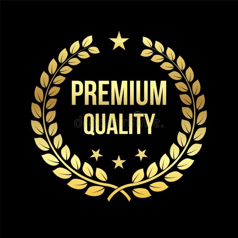 Oro Laurel Wreath Premio premio di qualità Distintivo dorato Elemento di progettazione da vendere, vendente al dettaglio tema Ill illustrazione di stock