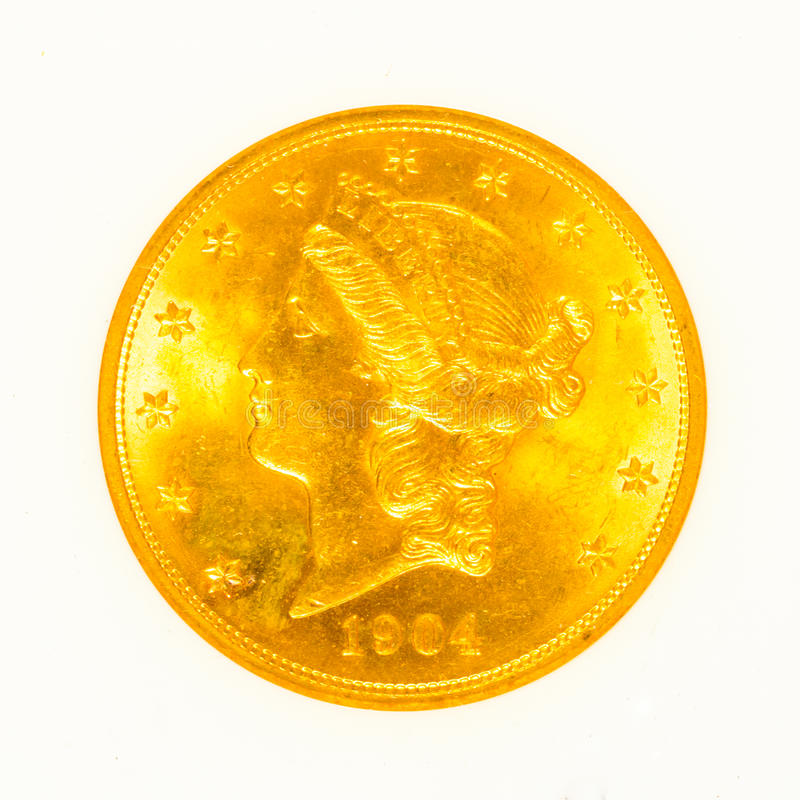 Oro Liberty Head Coin Isolated imagenes de archivo