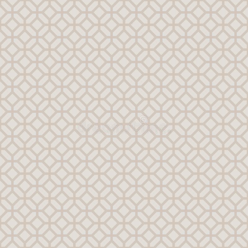 Oro ligero geométrico decorativo inconsútil abstracto y modelo beige stock de ilustración