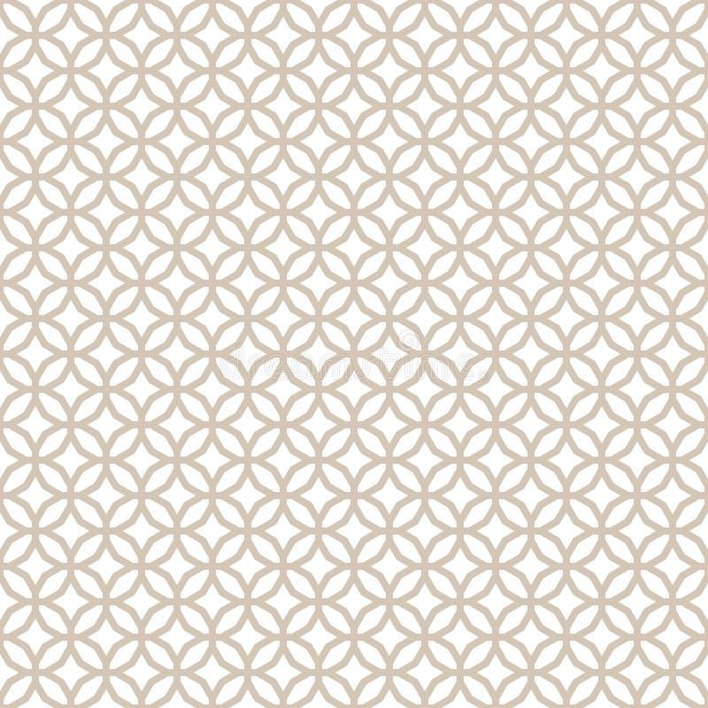 Oro ligero geométrico decorativo inconsútil abstracto y modelo blanco ilustración del vector