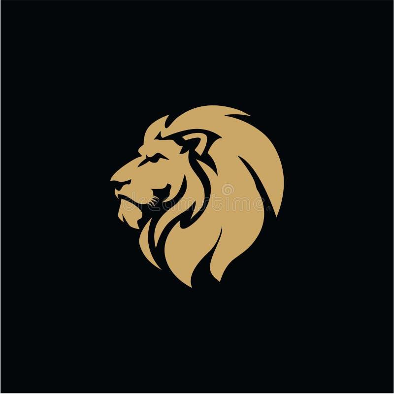 Oro Lion Head, illustrazione piana di vettore di progettazione del fondo nero royalty illustrazione gratis