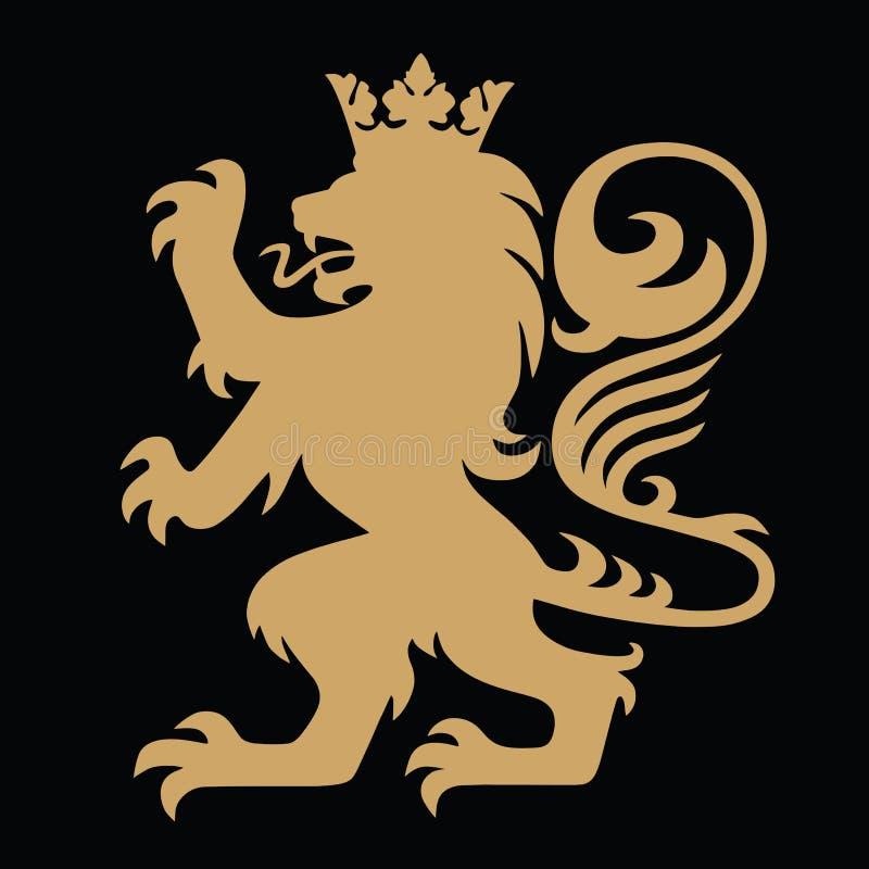 Oro Lion King Heraldic con la corona Logo Template Vector royalty illustrazione gratis