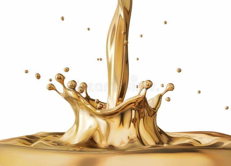 Oro liquido che versa con la spruzzata e le ondulazioni della corona illustrazione vettoriale