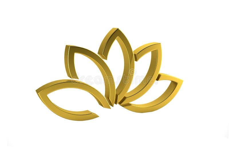 Oro Lotus Flower Background 3d rendono l'illustrazione illustrazione vettoriale
