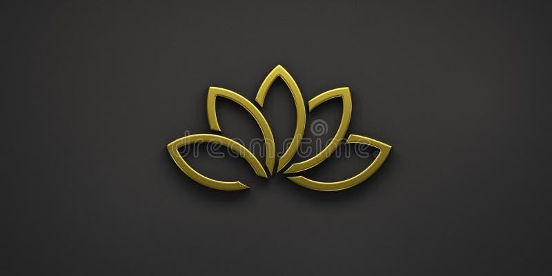 Oro Lotus Plant Logo 3d rendono l'illustrazione illustrazione vettoriale