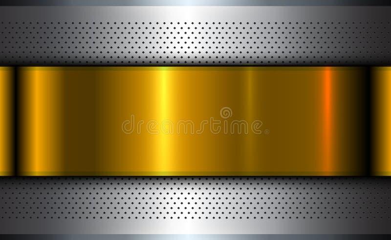 Oro metallico dell'argento del fondo illustrazione di stock