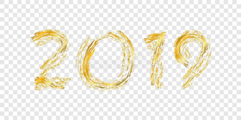 Oro número 2019 de la Feliz Año Nuevo Diseño de oro brillante con la chispa, fondo transparente blanco aislado holiday stock de ilustración