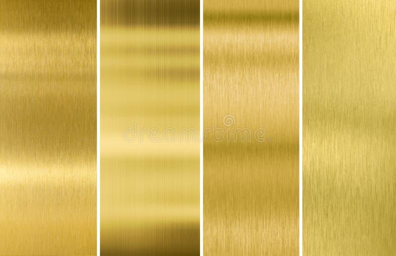 Oro o ambiti di provenienza spazzolati ottone di struttura del metallo fotografia stock