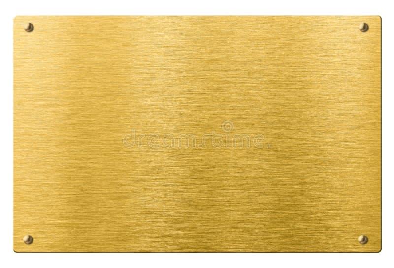 Oro o placa de metal del latón con los remaches aislados imagen de archivo