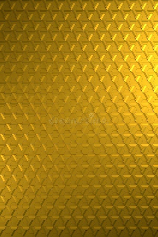 Oro o superficie di metallo esagonale brillante d'ottone di sollievo - fondo verticale illustrazione di stock